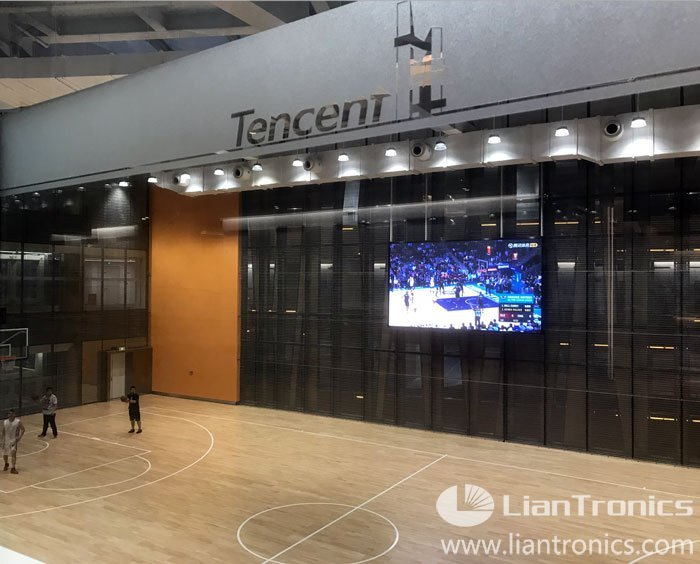 LED screen on basketball court