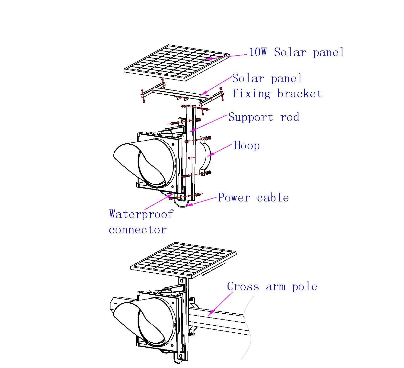 Ηλιακό προειδοποιητικό φως υψηλής ισχύος 300 mm