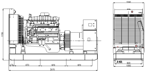 Three Phase Generator with Cummins Diesel Engine Rate Output 275kW 50Hz