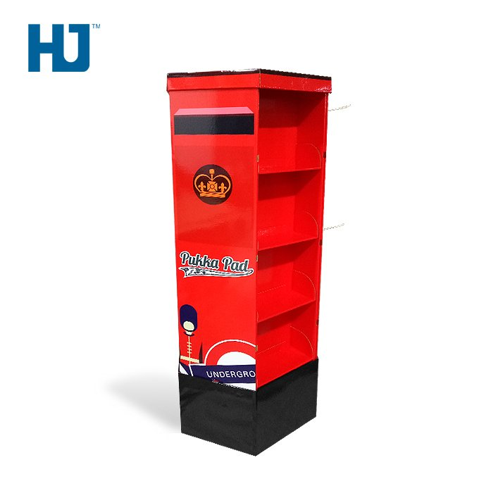 4-side Notebook Red Cardboard Hook Shelf Displays