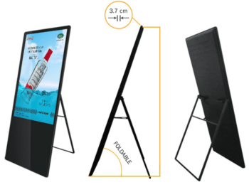 "43"" portable digital signage with ultra-thin style"