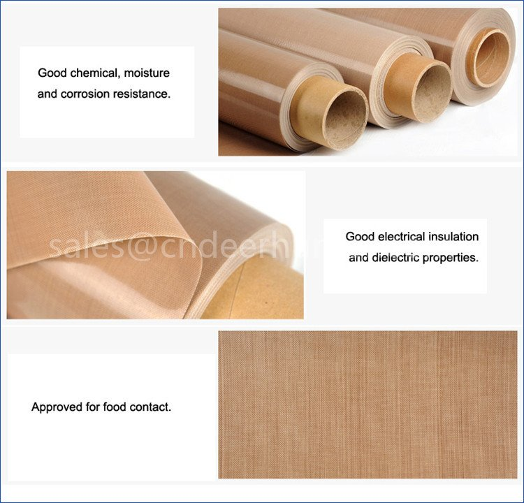 Brown Teflon Coated Glassfiber Fabrics