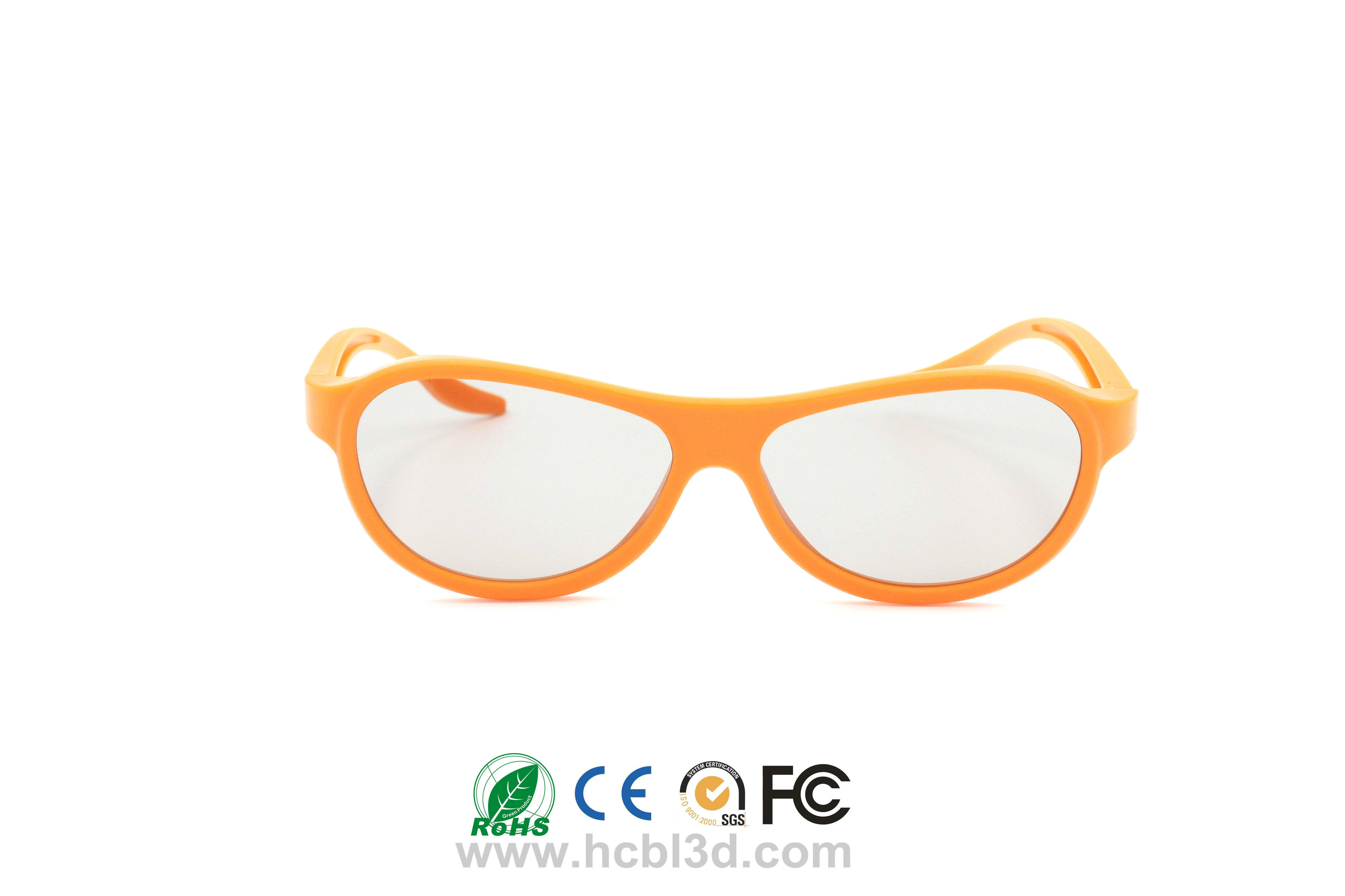 Disposable passive 3D glasses with orange ABS frame for adult & child