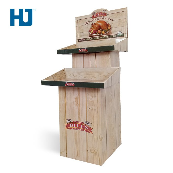 Turkey Cardboard Floor Display with 2 Tires Cardboard Shelf at Restaurant And Turkey Shop