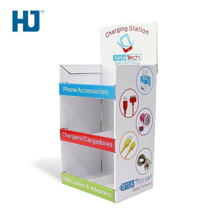 Phone Accessories Cardboard Display Stand Shelf Promotion Cardboard Floor Display Stand