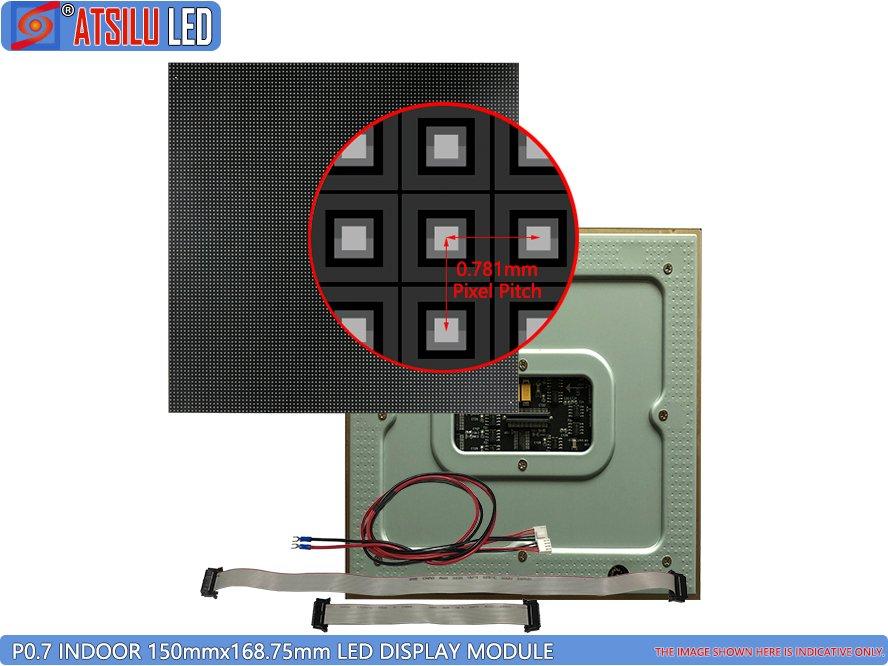 P0.7mm Modul Tampilan LED Pitch Piksel Kecil