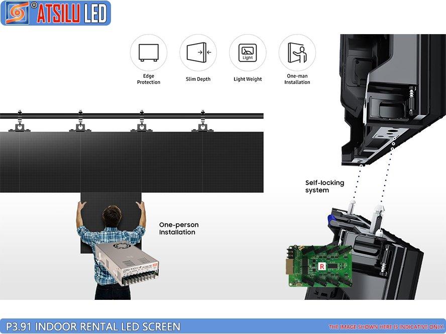 Tela interna do diodo emissor de luz do arrendamento de P3.91mm