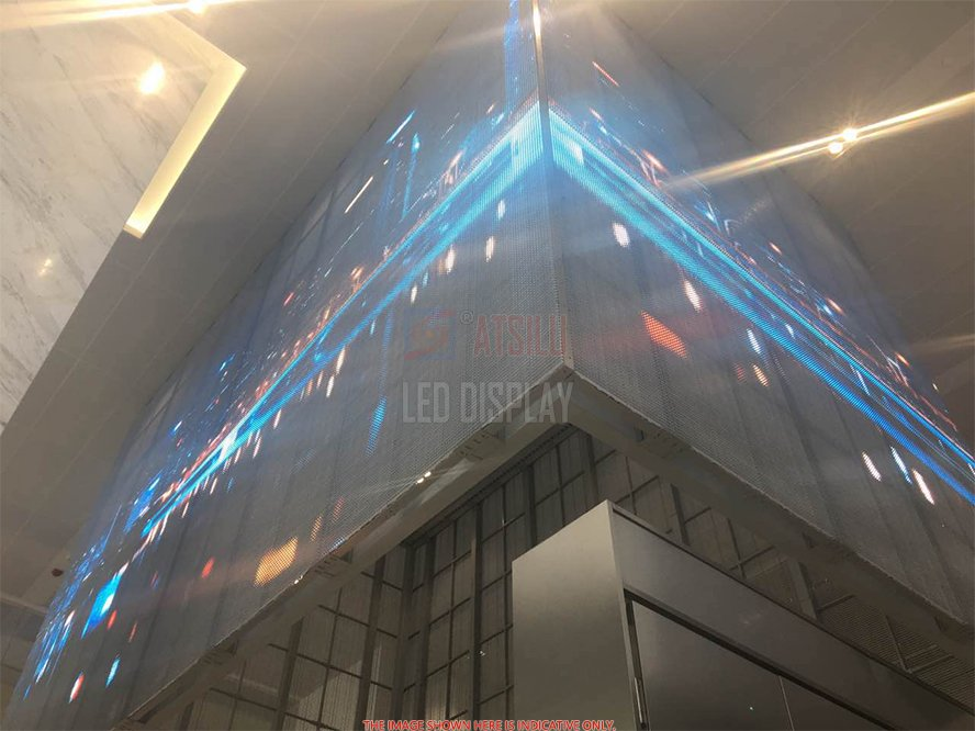 P6.25mm LED Curtain Display Outdoor HD LED Facade Advertising Mesh Video Wall