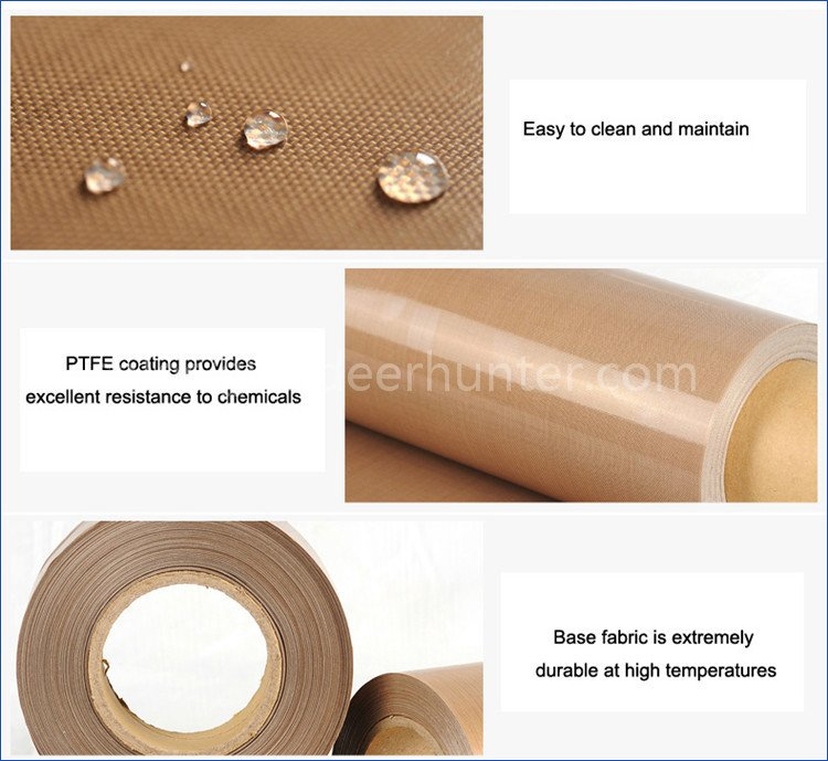 PTFE Glass Fiber Brown Teflon Coated Fabrics Non Adhesive
