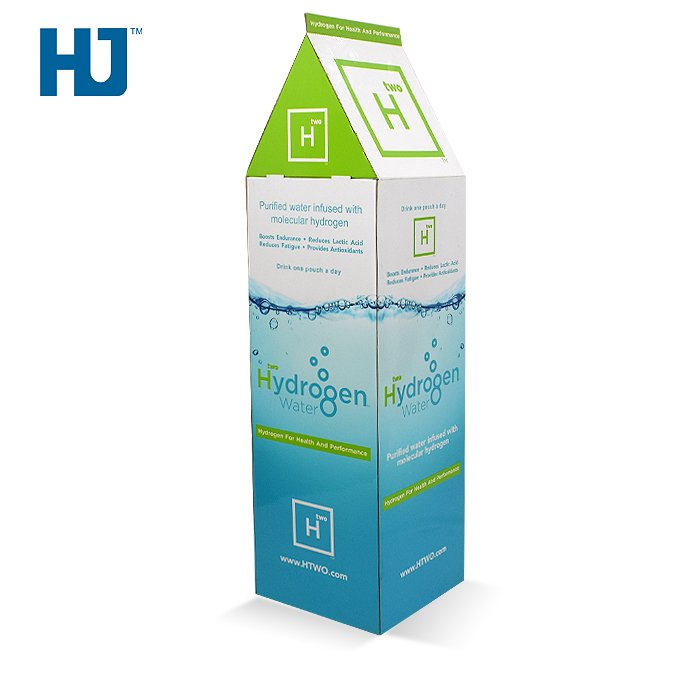 Cardboard Display Stand With 3 Tiers And Store For Retail Hydrogen Water At Supermarket