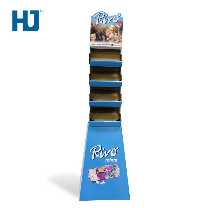 Trapezoid Cardboard Display Stand With 4 Tiers For 100% Sugar Free Mints Candy At Supermarket