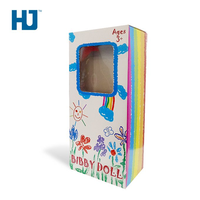 baby doll cardboard packaging box with PET