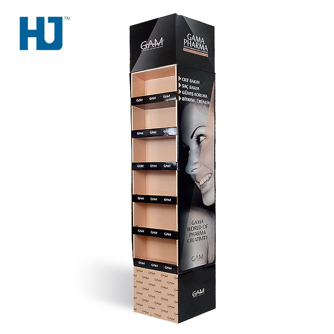 cosmetic cardboard floor display two side