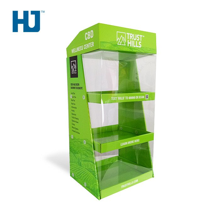 Customized CBD Cardboard Table Display Stands With PET At Exclusive Store