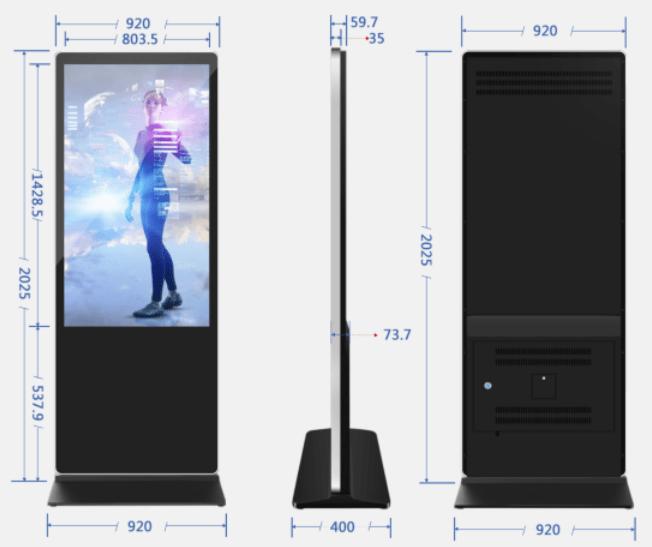 65-дюймовое напольное цифровое обозначение