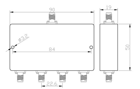 4-полосный делитель мощности с разъемами-розетками SMA от 1000 МГц до 2000 МГц при 20 Вт