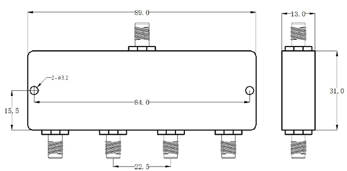 4-х полосный делитель мощности с разъемами SMA с частотой от 0,002 МГц до 20 МГц с частотой 1 Вт