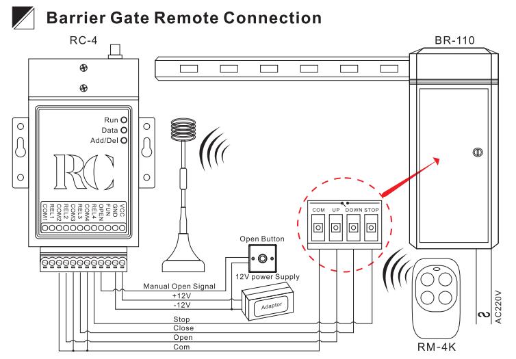 connexion de la télécommande de la barrière