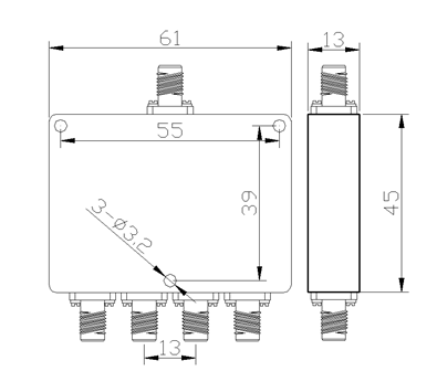 4 Way Power Divider with SMA Female Connectors From 2GHz to 8GHz Rate at 10 Watt