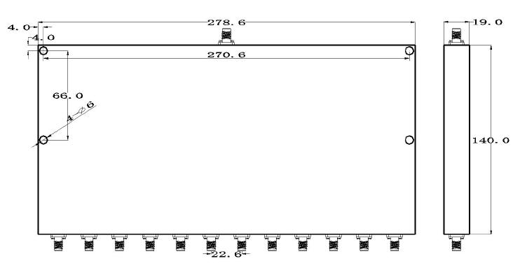 مقسم طاقة 12 طريقة مع موصلات SMA أنثى من 600 ميجا هرتز إلى 3000 ميجا هرتز بمعدل 10 وات