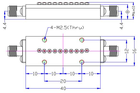 Полосовой фильтр миллиметрового диапазона, работающий в диапазоне 40-46 ГГц