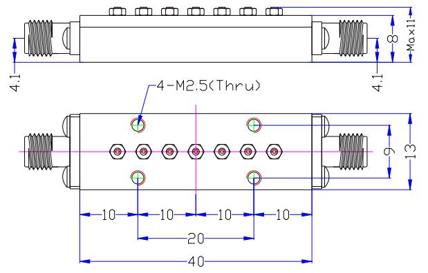 Полосовой фильтр миллиметрового диапазона, работающий от 38,6 до 40 ГГц