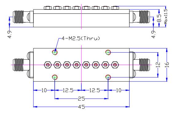 Полосовой фильтр миллиметрового диапазона от 26,5 ГГц до 29,5 ГГц
