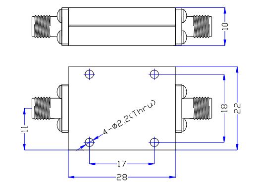 Фильтр верхних частот, работающий от 10 ГГц до 24 ГГц