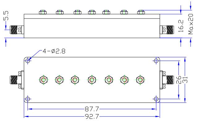 Полосовой фильтр работает от 9975 МГц до 10025 МГ