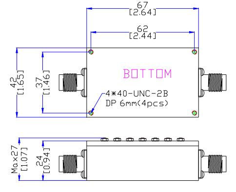 Filtro de paso de banda que funciona de 2345MHz a 2365MH