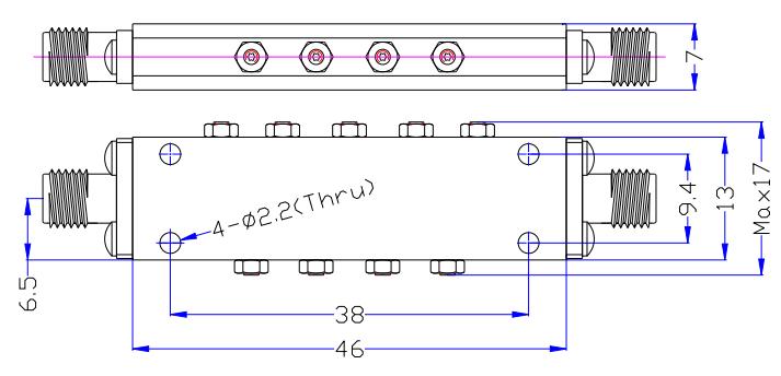 Полосовой фильтр работает от 13,9 ГГц до 16,4 ГГц