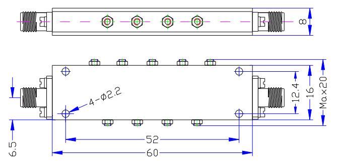 مرشح تمرير النطاق يعمل من 5.75 جيجا هرتز إلى 6.55 جيجا هرتز