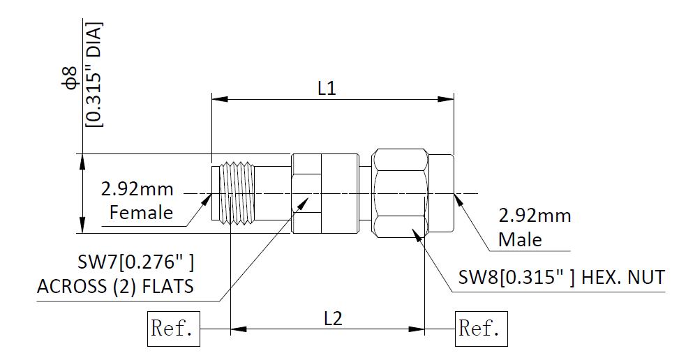РЧ-аттенюатор с разъемами от 2,92 мм до 2,92 мм