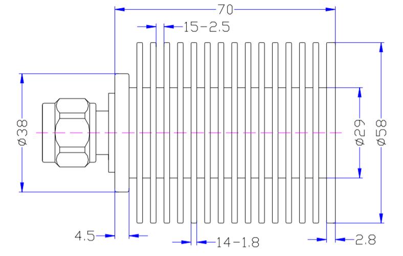 RF إنهاء محوري من DC إلى معدل 3GHz عند 50W