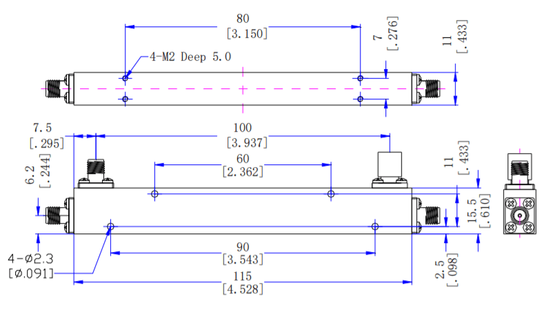 10dB Directional Coupler from 500MHz to 6000MH