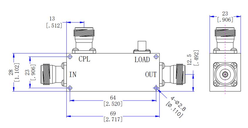 Acoplador direccional de 20dB de 950MHz a 1220MH