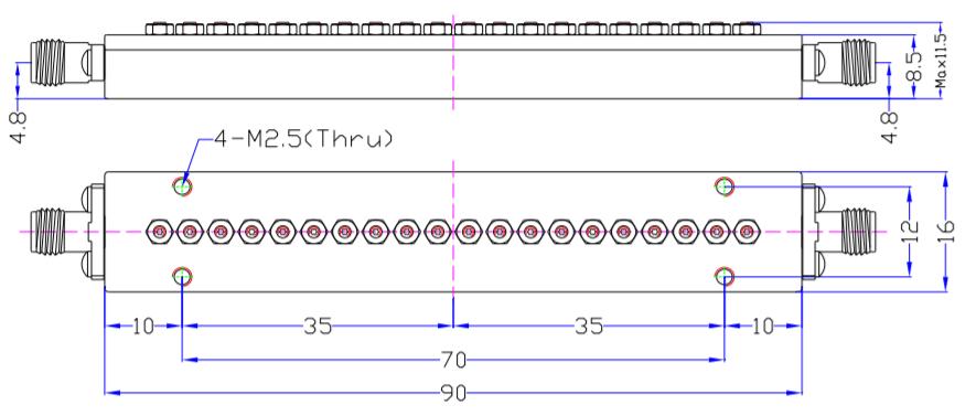 Millimeter Wave Band Pass Filter MBP-30E-35E