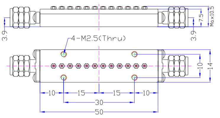 Миллиметр волновой полосы Pass Filter MBP-48E15-49E25