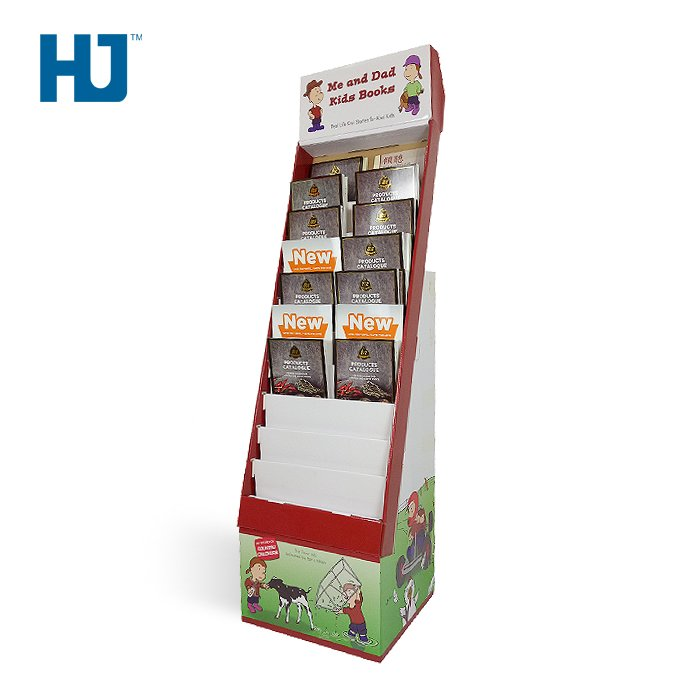 Kids Cardboard Magazine Display Stand With 10 Tiers For Children At Bookshop Chain Or Supermarket