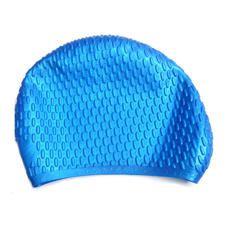 Blue Waterproof Silicone Swim Caps For Adults Customized Logo Printing