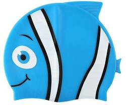 Cartoon Shape Childrens Waterproof Swimming Caps Silicone Material Universal Size