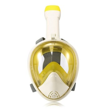 Yellow Silicone Adult Diving Full Face Mask with Round Lens CE