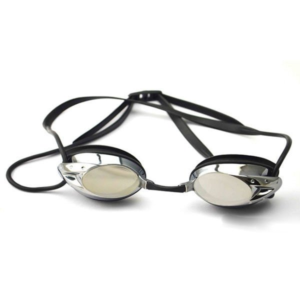 Professional Black Racing Swimming Goggles With Back Locked Strap For Adult