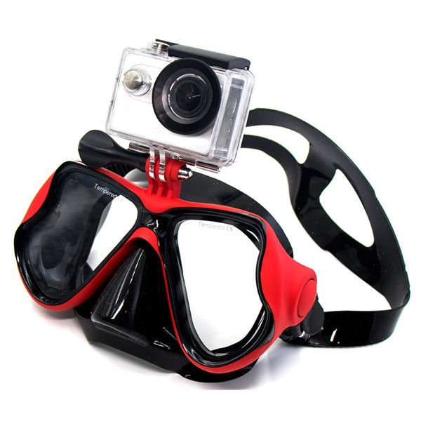 Adult Scuba Diving Goggles , Gopro Mount Adult Snorkel Set Anti Fog Optical Lens