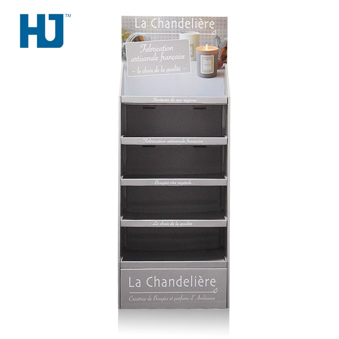 Scented Candle Cardboard Floor Display Shelf with 4 Tiers At Store Retail