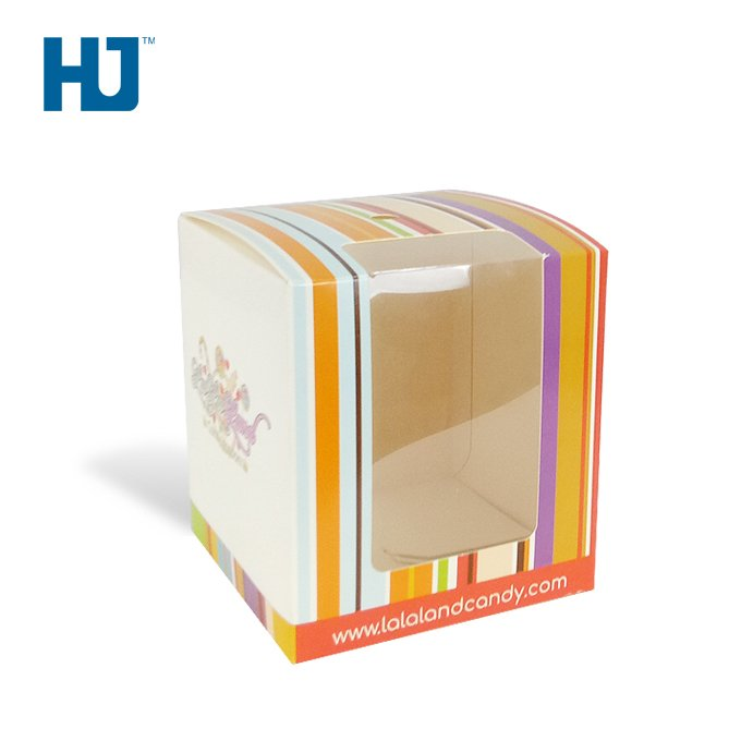 Square Candy Cardboard Packaging Boxes With PET At Sugar Shop Or Supermarket Retail