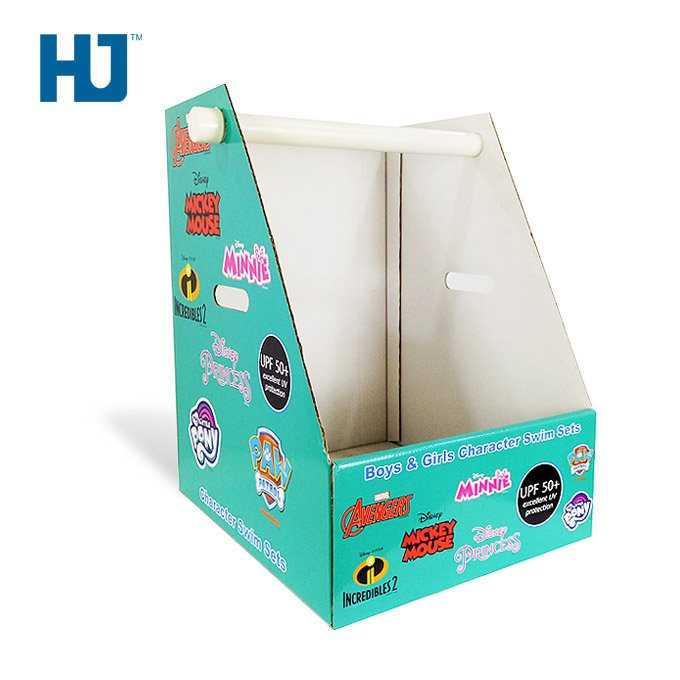 toy character swim sets cardboard counter top display stand