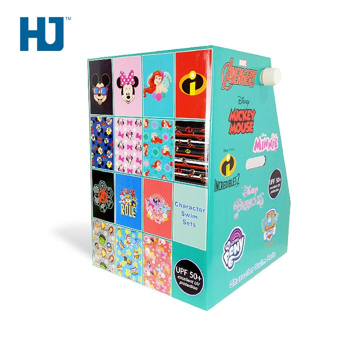 Toy Character Swim Sets Cardboard Counter Top Display Stand For Large Cartoon Store