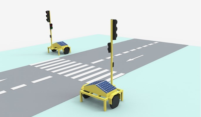 Wireless Portable Traffic Light With Controller  Solution